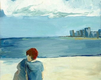 A Walk on the Pier - limited edition print of an original oil painting