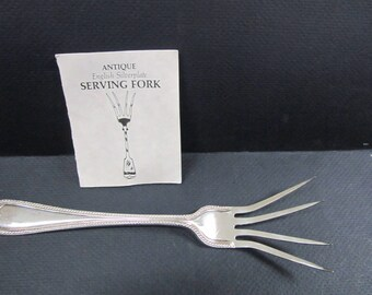 large England silverplate serving fork circa 1860 - 1880