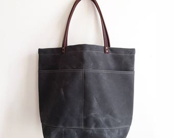 Gray Large Waxed Canvas Tote Bag with Leather Straps