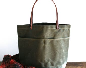 Dark Olive Large Waxed Canvas Tote Bag with Leather Straps