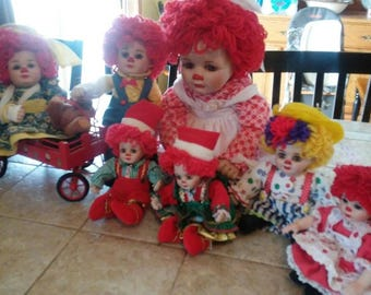 Marie Osmond Lot of 7 rosie and rags vintage dolls
