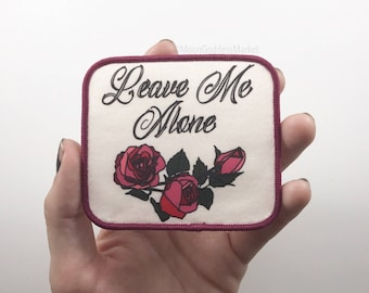 """Moon Goddess Market Leave Me Alone 3.5"""" Iron on heart patch"""