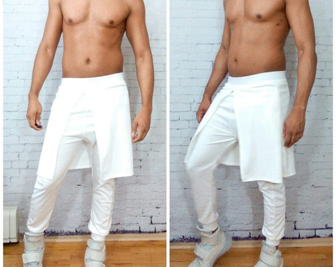 Off white Kilted Kilt jogger Stretch Ponte Jersey  White party Edm y3 ysl westwood pant