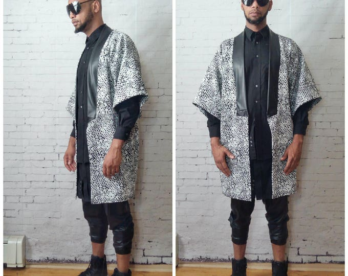 Reptile Print Knit Kimono Cardigan With Leather Inset Oversized