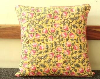 Kantha Pillow cover, Spring decor Floral  Print Pillow cover, Yellow kantha Pillow cover