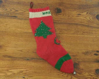 Vintage Knit Christmas Stocking Personalized Brenda