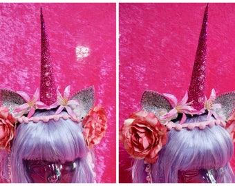 Pink and silver unicorn horn headband with ears, flowers and pom pom headdress - fairylove