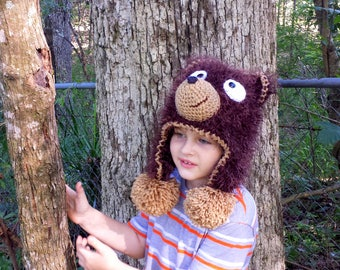 Bear hat.Crochet fuzzy bear hat.Bear hat.