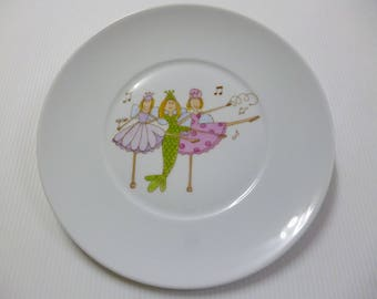 "Plate of birth or child porcelain ""fairies dancing"""