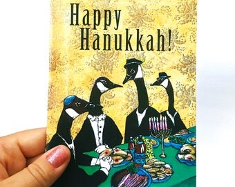 Unique Hanukkah Card or Card Set | Animal Hanukkah Geese | Unique Chanukah Card | Weird Jewish Holiday Stationery Set | Fancy Animals Card