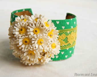 vintage upcycled cuff / upcycled bracelet / vintage bracelet / recycled bangle / bangle bracelet / vintage bangle / cuff bracelet / shabby