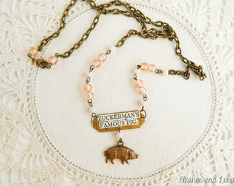 Vintage pig assemblage necklace / Charlotte's web / mixed media assemblage jewelry / vintage pig necklace / pig jewelry / famous pig