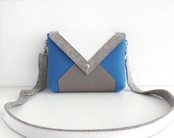 Light Blue Gray White Wool Felt Genuine Leather Crossbody Bag