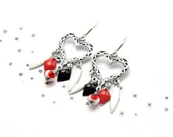 Earrings Bohemian Gypsy sequins enamel glass bead spun red white black