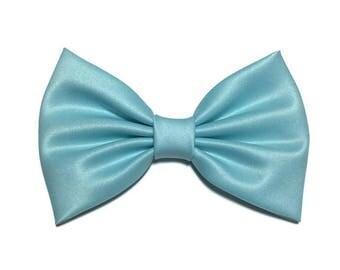 Light Blue Hair Bow, Satin Hair Bow Clip, Bows For Women, Kawaii Bows, Handmade Bow, Satin Fabric Bow, Lolita, Big Bow, Baby Girl Bow, ST055