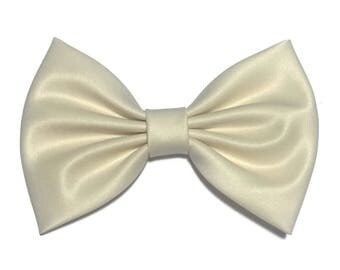 Beige Hair Bow, Satin Hair Bow Clip, Bows For Women, Kawaii Bows, Wedding Bow, Satin Fabric Bow, Lolita, Big Bow, Baby Girl Bow,  ST042