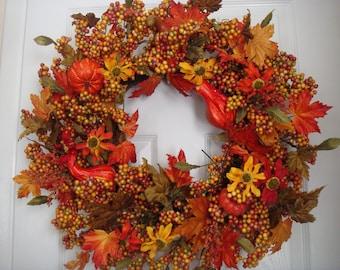 Fall wreath, fall door wreath, autumn wreath, autumn door wreath, berry wreath, Thanksgiving wreath, front door wreath, fall decoration