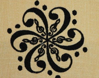 Music Note Circle Shaped School Machine Embroidery Design