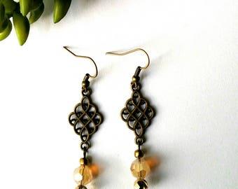 Bead Earrings, Caramel and Bronze, Drop Earrings