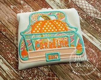 Pumpkin Vintage Truck Trick or Treat Halloween Thanksgiving Custom Tee Shirt - Customizable