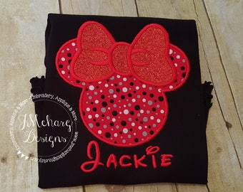 Girl Mouse Custom embroidered Disney Inspired Vacation Shirts for the Family! 763 red grey dot