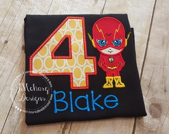 Super Hero Custom embroidered Flash Inspired Birthday Shirt 78a black