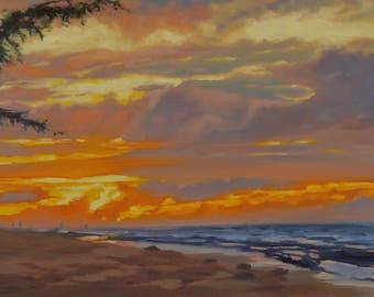 Kauai - Hawaii - Oil Painting - Plein Air - Sunset - Ocean - Sea - Hanalei - Beach - Seaside - Orange - Seascape - Landscape - Surf - Waves