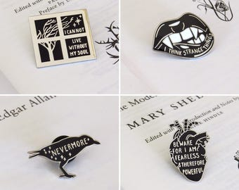 Gothic Literature Enamel Pin Set - Pin Badge - Frankenstein - Dracula - Wuthering Heights - Edgar Allan Poe  - Book Pins - Black and Silver