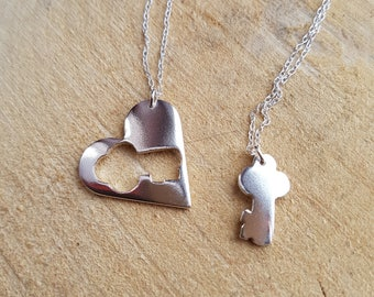 Heart Necklace, Key Necklace, Sisters Necklace, Mother Daughter Pendant, Valentines Gift, Silver heart and key Jewelry
