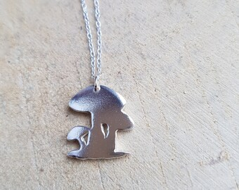 Mushroom Silver Necklace Pendant Mushroom Jewelry