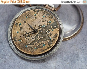 15% off Custom  pocket watch, steampunk watch, leather mens watch, modified pocket watch