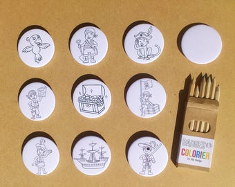"Set of 10 badges coloring ""Pirates"""