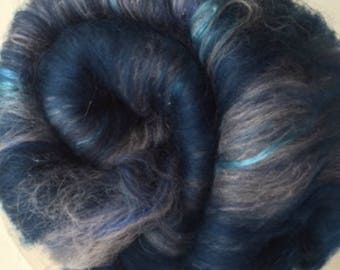 Carded Fibre Batt for Spinning and Felting/Art Batt/Spinning Blue Mix