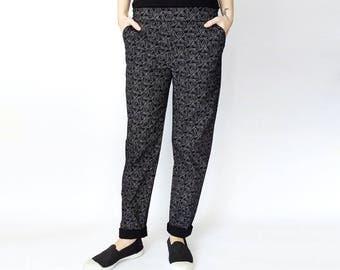 Black pants, High waisted pants, Black pants, Black elastic waist pants, Paperclip Printed pants, Pockets, cotton pants, Comfortable pants
