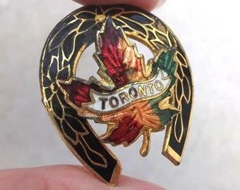 SUMMER SALE Vintage Enamel Maple Leaf Toronto Lucky Horseshoe, Canada, Gold Tone Metal, Souvenir, Badge, Brooch, Pin