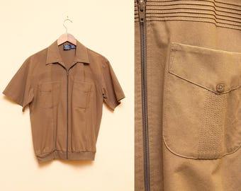 Mens Brown Shirt // Zippered Jacket // 80s John Blair Short Sleeve Collared Shirt Hipster Retro Size Small Medium