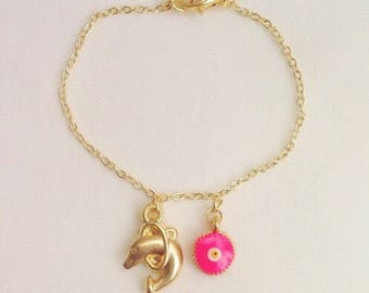 Anklet or Bracelet, Gold Plated Ankle Bracelet, Gold Dolphin Charm Anklet, Pink Evil Eye, Gift for Kids, Child Jewelry,Baby Girl , Toddler
