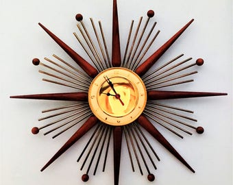 STUNNING Near Mint brass and solid wood STARBURST CLOCK marked France1960s