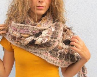 Boho Woman Hippie Scarf Long Fringed Woolen Crocheted Knit Scarf