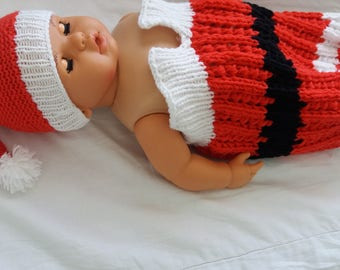 Newborn Santa Baby knit cocoon and hat Photo Prop,Crochet,Christmas Gift