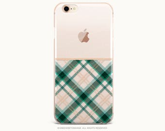 Christmas iPhone 8 Case iPhone X Case iPhone 7 Case Plaid Clear GRIP Rubber Case iPhone 7 Plus Clear Case iPhone SE Case Galaxy S8 Case U340