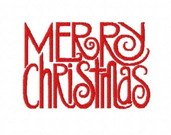 Merry Christmas script machine embroidery design 4 inch instant download