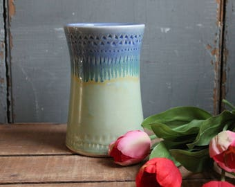 Flower Vase, light green, drippy blue, decorative, unique gift for mom, wife, mothers day, anniversary, IN STOCK, Ready to Ship