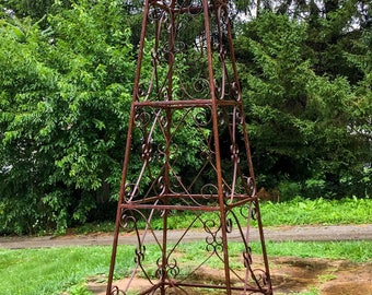 Vintage Wrought Iron Tower Architectural Salvage Welded Garden Statue Finial Yard Art Unique Home Decor Antique