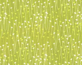 Flower Fabric/White Flowers/Lime Green Cotton Material/Michael Miller/Quilting, Clothing Craft Yardage/Fat Quarter, Half, By The Yard