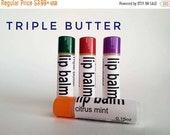 ON SALE Organic Lip Balm, dry lip balm, chapstick, essential oils, lip butter, spearmint, peppermint, orange, grapefruit, shea butter, cocoa