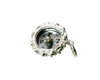 Sterling Silver Ornate Sapphire Set Compass Fob Charm For Bracelets