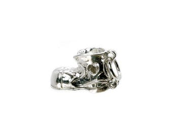 Sterling Silver Opening Just Married Wedding Boot Charm For Bracelets