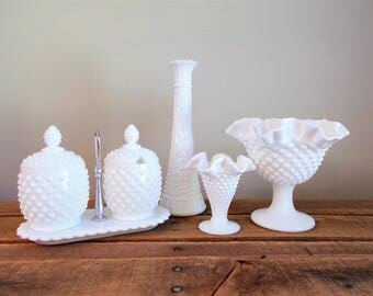Hobnail and Milk Glass Instant Collection – Six Pieces