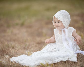 Silk Velvet Christening gown and bonnet set~ white velvet baby girl dress, special occasion infant dress, lace baby gown, silk baptism set